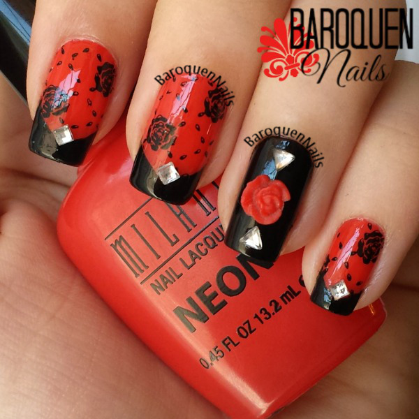 Natural Nail Art Of The Week Black And Red Floral French Manicure