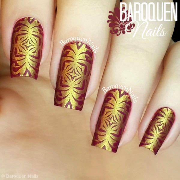 Red and Gold nail design | Baroquen Nails